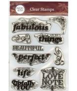 Hampton Arts Acrylic Stamp CS-4388 Post Script Sentiments, Set, New B2 - $14.50