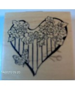 PSX Rubber Stamp G-3126 Botanical Heart With Butterfly Retired S3 - $16.54