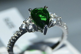 Sterling Silver Promise Ring 1.00 CT Green CZ Sz 9  D1 - $35.79