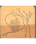 Rubber Stamp A11-K Owl in tree full moon, Fall, Harvest, New S19 - $9.74