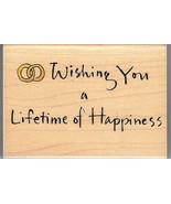 Inkadinkado Rubber Stamp 6367-N Saying, Wishing You a Lifetime of Happin... - $14.50