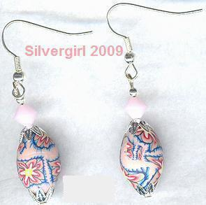 Red Yellow Blue and Pink Crystal Polymer Clay Earrings
