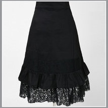 Gypsy Steam Punk Vintage Goth Ruffled Black Knee Length Layered Lace Skirt image 2