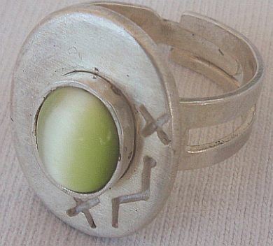 Primary image for Peridot cat eye silver ring