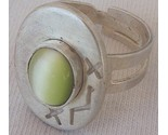 Green light cat eye silver ring thumb155 crop