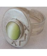 Peridot cat eye silver ring - $18.00