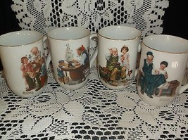 "Norman Rockwell mugs, ""Museum"" 1982 gold trim - $14.85"