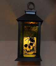 "Halloween LED Candle Glass Plate Lantern Eerie Alley Auto Timer 14""x5"" S... - $19.79"