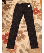 Seven For All Mankind Black & Gray Floral Skinn... - $85.99