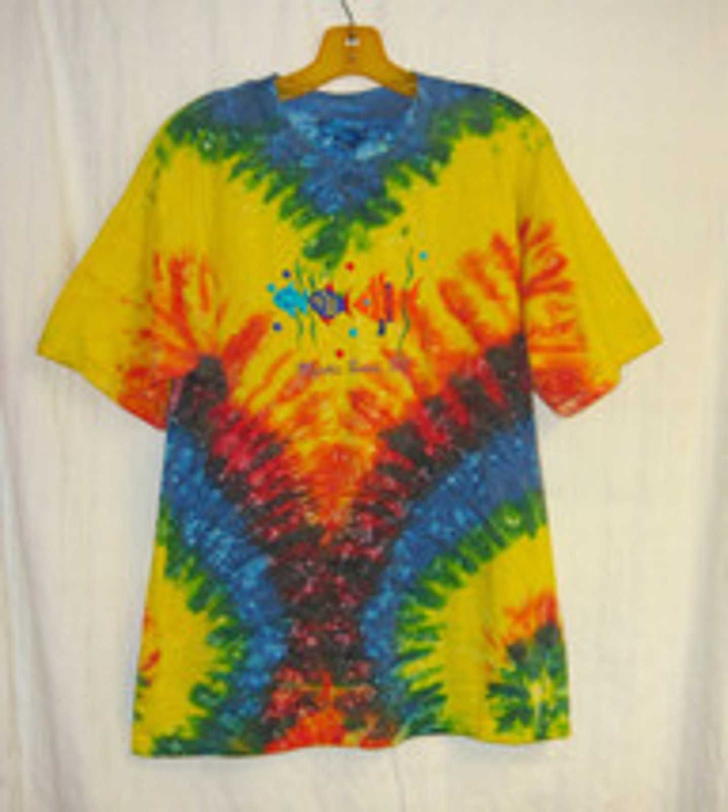 Myrtle beach tie dye colorful t shirt with embroidered for Embroidered fishing shirts