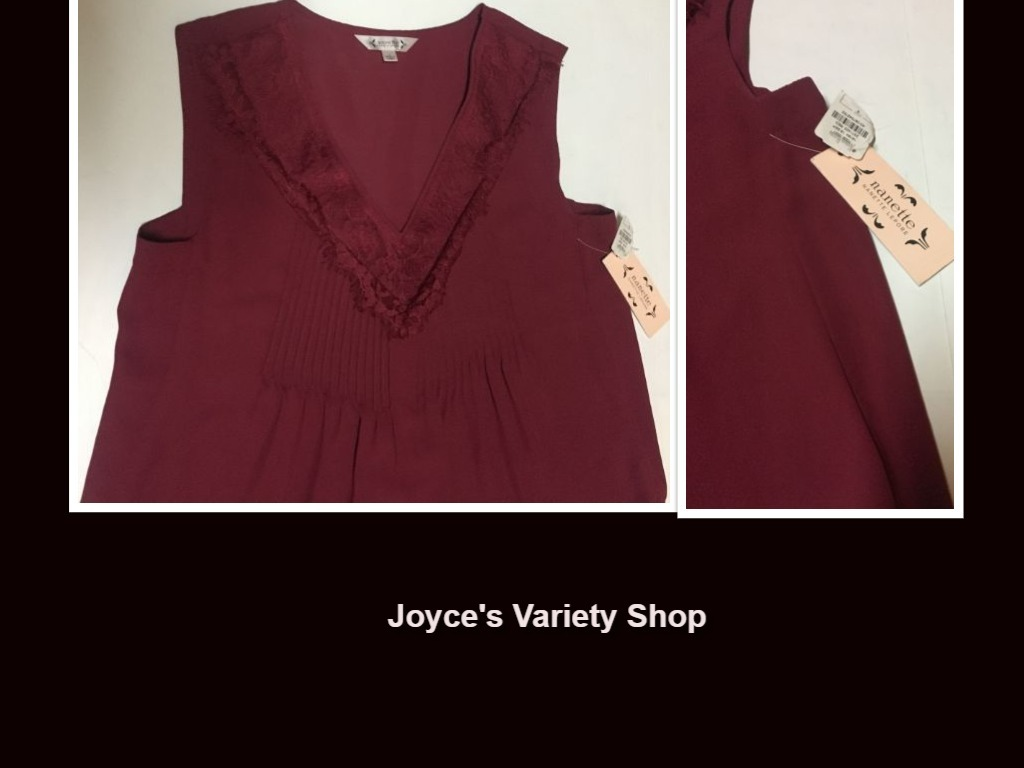 Nanette maroon blouse collage