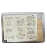 Stampin Up Hang In There New 2002  Desserts Cat Turtle Pie 6 Wood Rubber Stamps  - $25.20