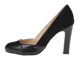 Women's Shoes Anne Klein QENA Heels Pump Slip On Suede Leather Black Combo - $48.59