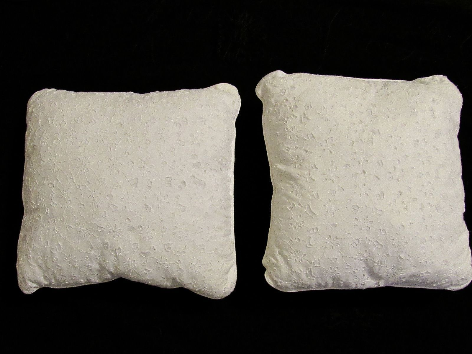 Pair of White Linen Blend Floral Cutwork Square Throw Pillows