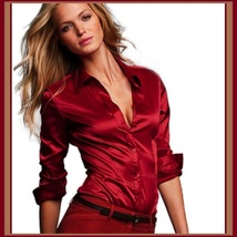 Retro Silk Satin Long Sleeve Big Cuff Front Button Up Shirt in 4 Colors