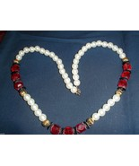 PEARL AND RED BEADS NECKLACE - $10.00