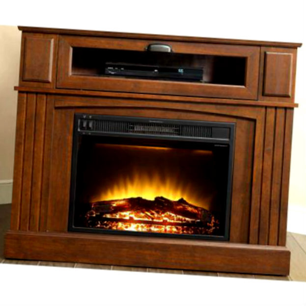 corner electric fireplace mantel heater entertainment tv console stand media fireplaces. Black Bedroom Furniture Sets. Home Design Ideas