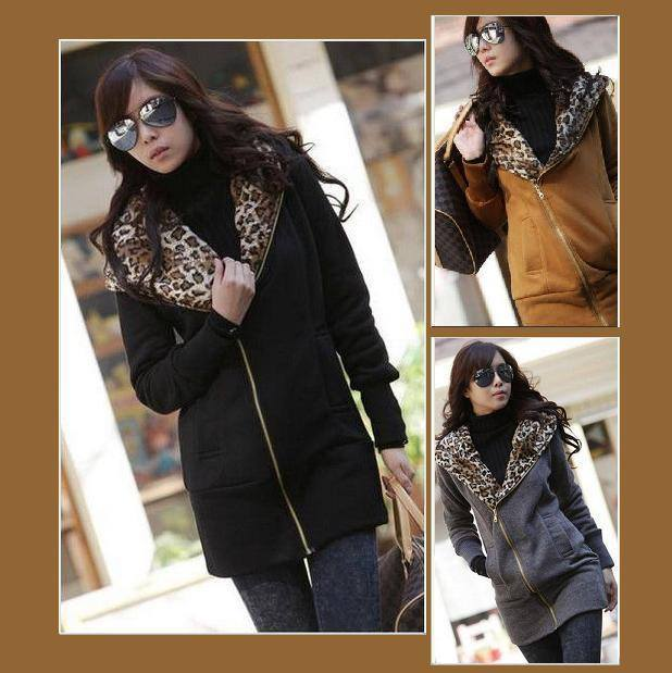 Casual Long Leopard Hoodie Asymetrical Front Zip Up Sweatshirt Jacket Coat