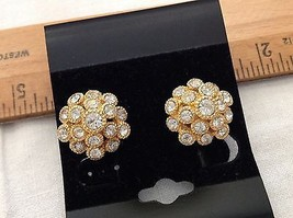 Gold Tone Clear Rhinestones Dome Earrings Screw-On Marked Patent Haskell? - $9.44