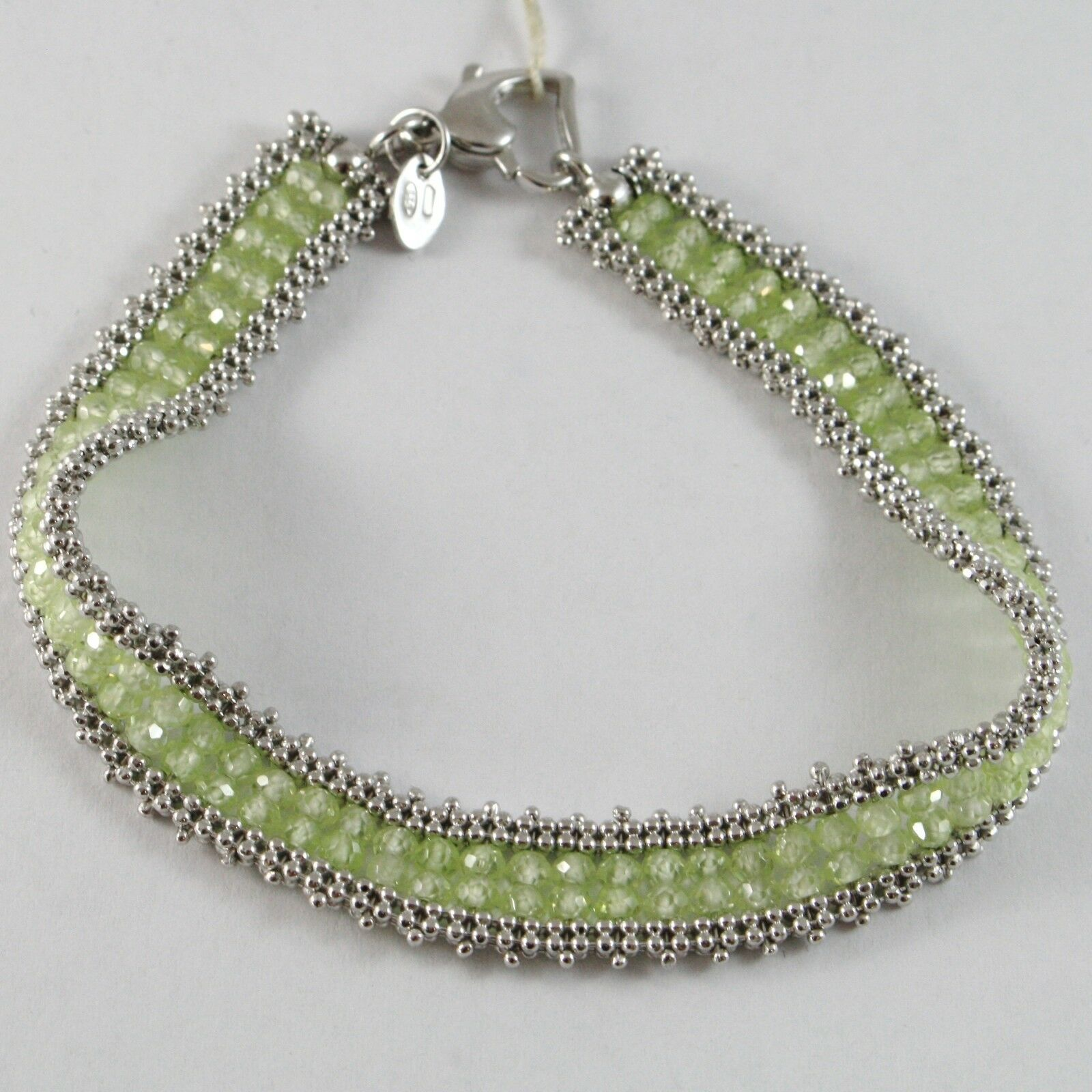 925 Silver Bracelet, Tennis Balls Multi Wires, Peridot Green, Made in Italy
