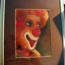 original color pencil drawing 5x7 clown matted and  framed to 8x10 - $5.99
