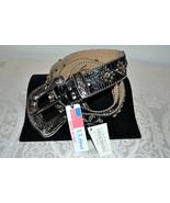 NWT $255 BB Simon Wide BLACK Leather Belt Fleur... - $105.74