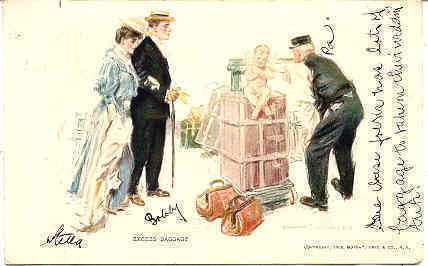 Primary image for Excess Baggage artist Howard Christy 1908 Vintage Post Card