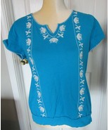 St Johns Bay blue embroidered short sleeve Top size L - $4.99
