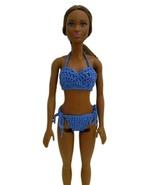 Barbie Doll Clothes Crochet Blue 2-Piece Bikini Swimsuit Handmade - $6.49