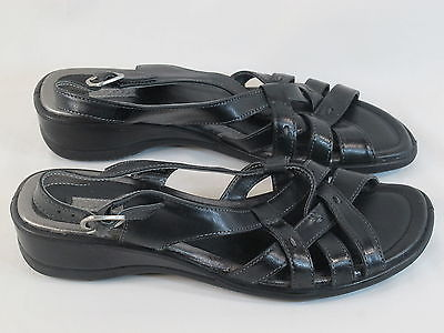 Primary image for ECCO Black Leather Slingback Sport Sandals 9 M US Near Mint Condition EUR 40