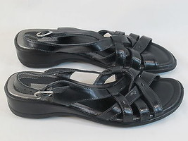 ECCO Black Leather Slingback Sport Sandals 9 M US Near Mint Condition EU... - $28.59