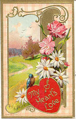 My Hearts Love Vintage Valentine Post Card