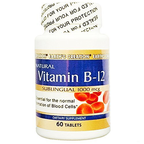 Earth's Creation Vitamin B-12 Sublingual 1000 mcg, 60 Tablets