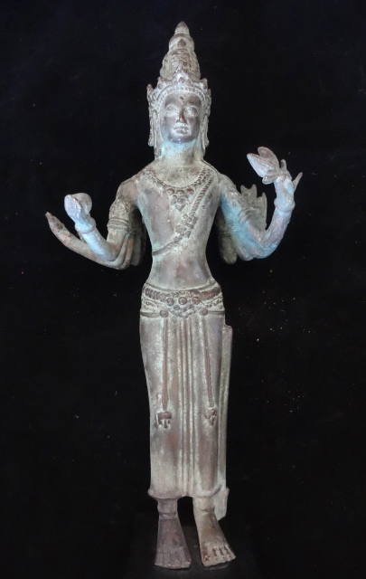 Primary image for Visnu Hindu God Bronze Statue Standing With 8 Hand Spiritual Meditation Yoga