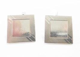 Swank cufflink vintage square silver tone - $12.86