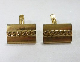swank cufflink vintage square gold tone chain pattern - $12.86
