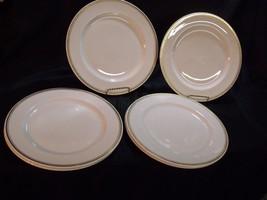 "SET OF (6) ROYAL DOULTON PORCELAIN GOLD RIM TRIM 10 1/2"" DINNER PLATES - $44.55"