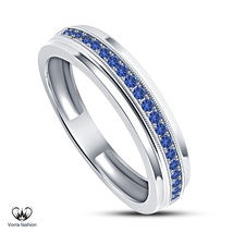 Blue Sapphire Engagement Women's Band Ring White Gold Plated 925 Sterlin... - $78.99