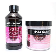 MIA SECRET 4oz LIQUID MONOMER + 4oz NATURAL PINK ACRYLIC POWDER NAIL ART... - $20.96