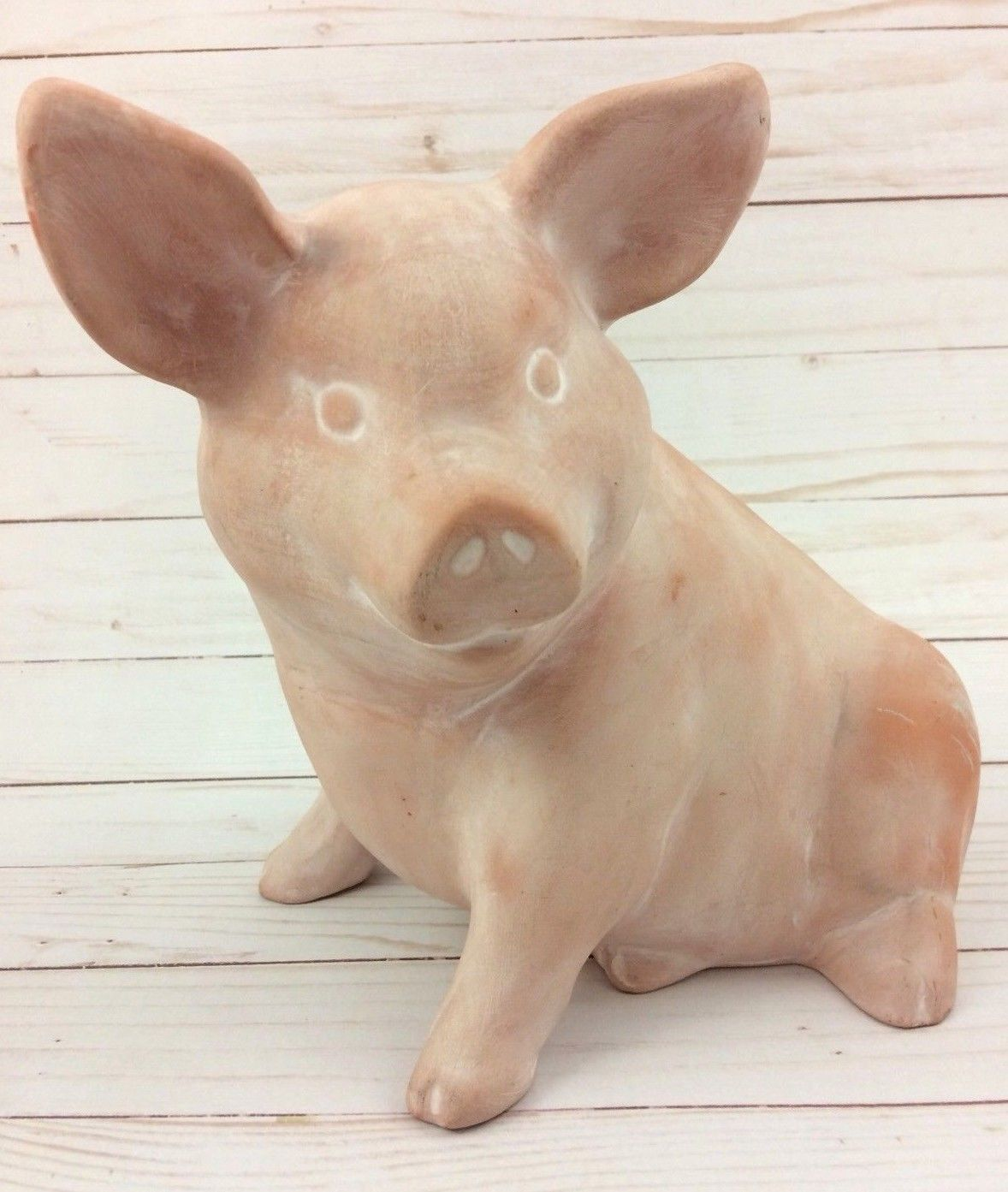 Primary image for Vintage Hess Signed Unglazed Terracotta Clay Pig Art Sculpture 1993