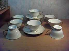 8 Vintage Cup Sets Flintridge China Montrose Ivory Gold Trim California ... - $133.65