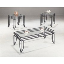 Black Coffee Table Set Metal Glass 3 Pc Cocktail End Side Stand Accent F... - $346.12 CAD