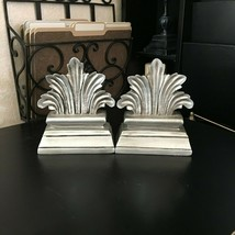 "2pc TUSCAN 7"" x 7"" Heavy Resin BOOK ENDS Distressed SILVER Ornate LIBRAR... - $31.99"