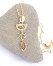 Necklace&pendant gold rhodium.Menorah / Star Of David / Fish. symbol Mes... - $13.09