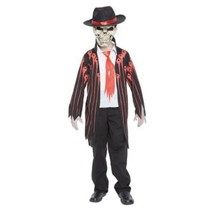 Mens Bloody Mad Zombie Mobster Jacket, Shirt, Hat, Mask 4 Pc Halloween Costume-M - $29.70
