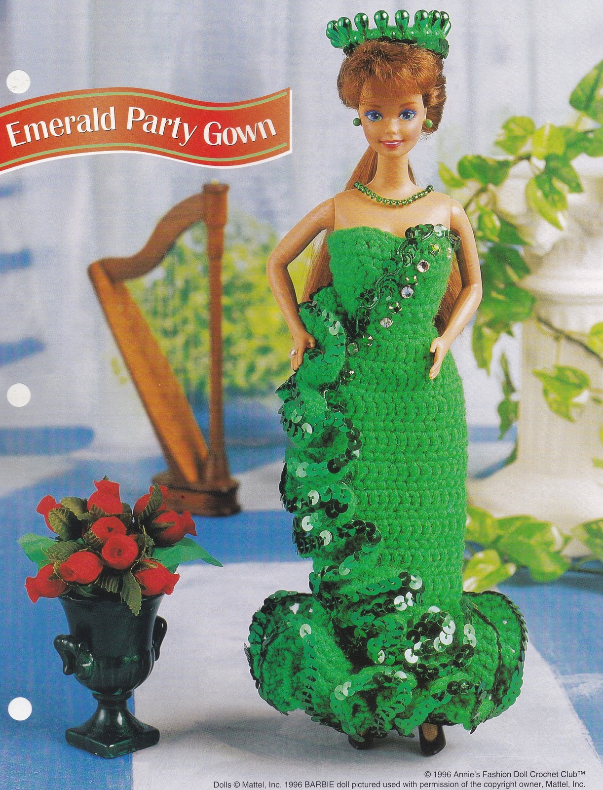 Emerald Party Gown, Annie's Attic Fashion Doll Crochet Pattern Club FCC13-04  - $1.95