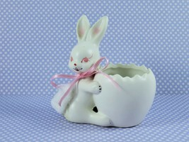 Vintage 1950s Inarco Japan Small Egg Easter Bunny Cotton Tail Planter Vase - $12.82