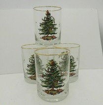 4 Spode Christmas Tree Double Old Fashioned Glasses set 14 oz Gold Box New  - $29.69