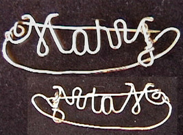 Vintage pin spells MARY gold tone wire - $4.90