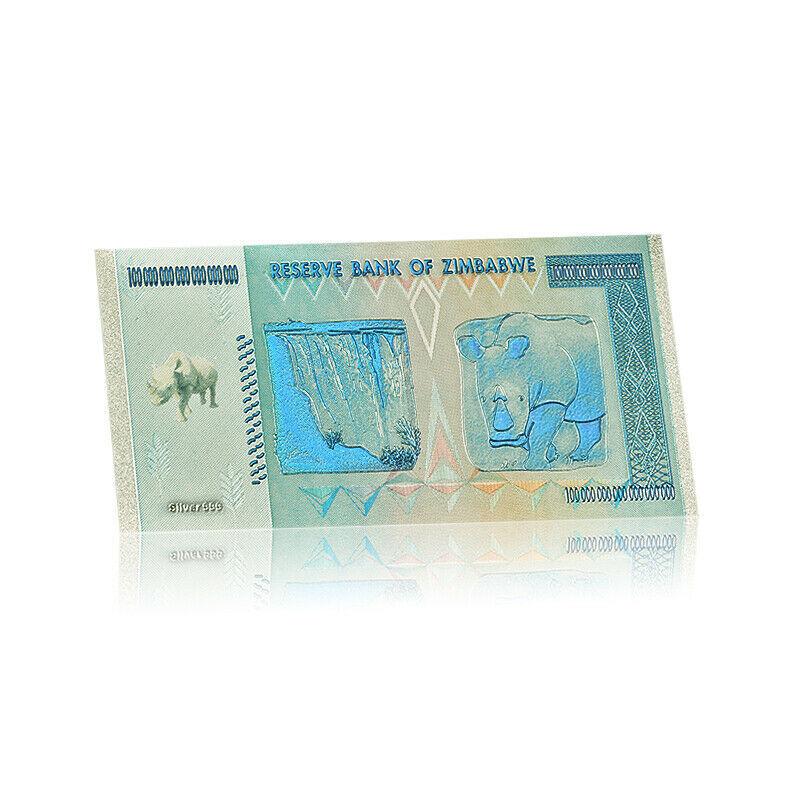 WR Rhinoceros Zimbabwe 100 Quintillion Dollars Color Silver Banknotes In Sleeve